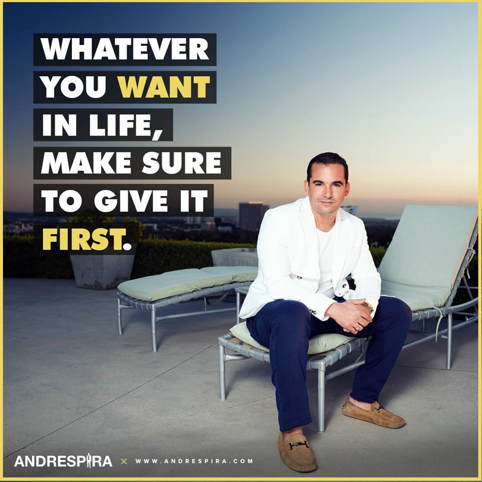 Inspiratational Quote to Give First by Andres Pira