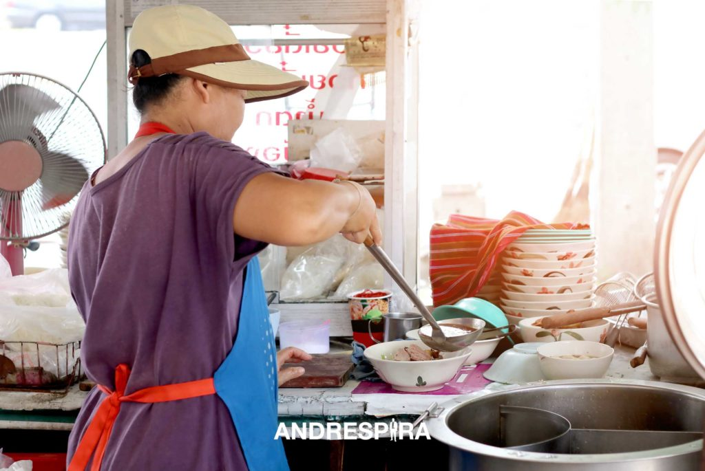 A Thai Lady Making Noodle Soup