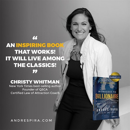 Christy Whitman's Homeless to Billionaire book testimonial.