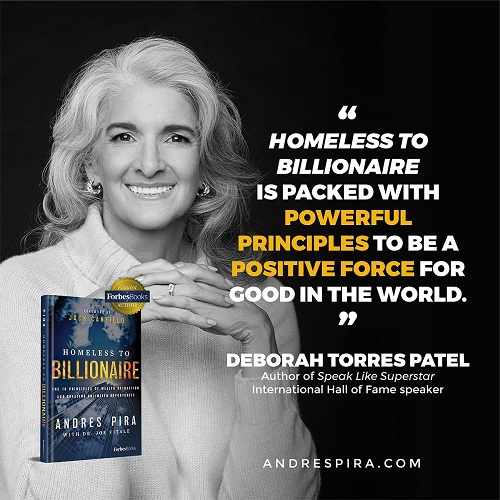 Deborah Torres Patel's Homeless to Billionaire book testimonial.