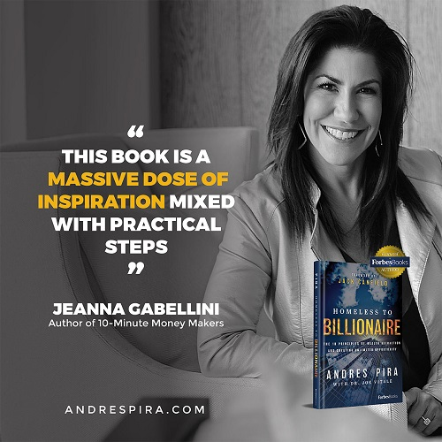 Jeanna Gabellini's Homeless to Billionaire book testimonial.