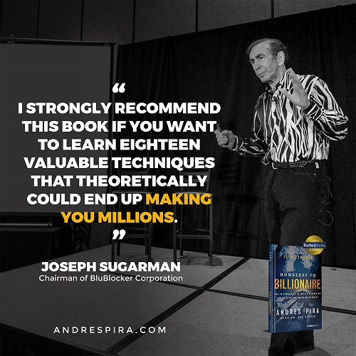 Joseph Sugarman's Homeless to Billionaire book testimonial.