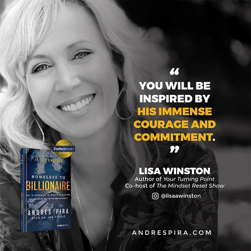 Lisa Winston's Homeless to Billionaire book testimonial.